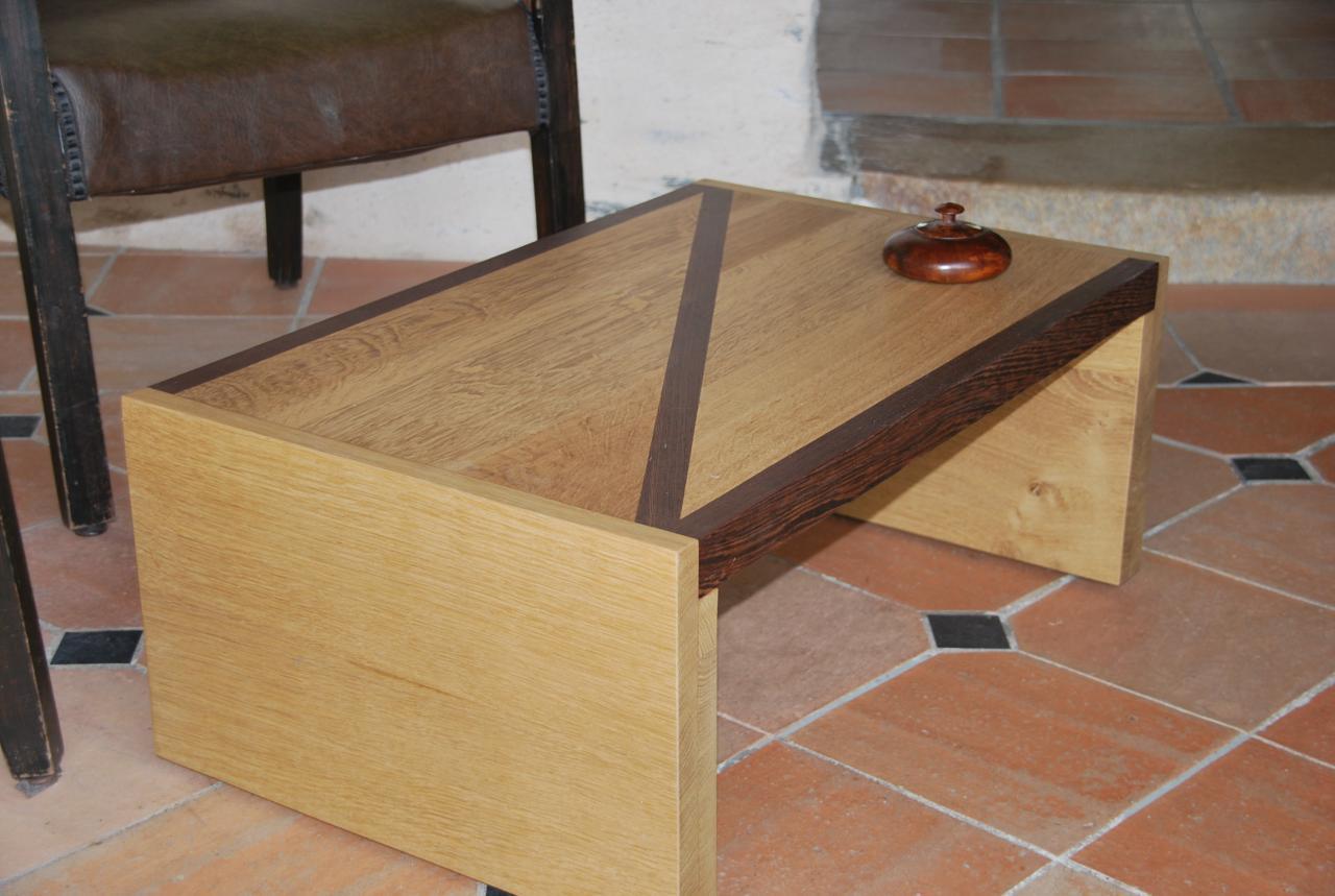 Table basse chêne et wengé